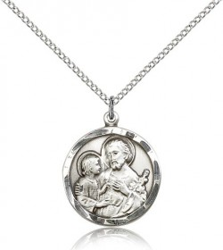 Women's St. Joseph Pendant with Hand Etched Border [BM0743]