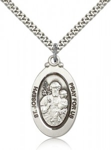Men's Oval St. Joseph Pray for Us Pendant [BM0745]