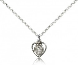 Petite Heart Shape St. Joseph Necklace [BM0746]