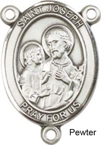 St. Joseph Rosary Centerpiece Sterling Silver or Pewter [BLCR0227]