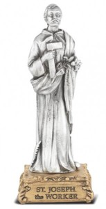 Saint Joseph the Worker Pewter Statue 4 Inch [HRST628]