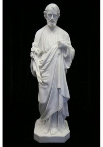 Saint Joseph the Worker Statue White Marble Composite - 40 inch [VIC9007]