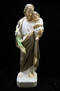 Saint Joseph with Child Statue Hand Painted Marble Composite - 24 inch [VIC3002]