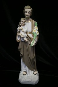 Saint Joseph with Child Statue Hand Painted Marble Composite - 19 inch [VIC9015]