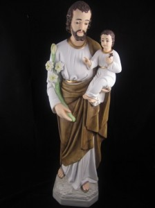 Saint Joseph with Child Statue Hand Painted Marble Composite - 25.75 inch [VIC3101]