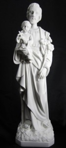 Saint Joseph with Child Statue White Marble Composite - 19 inch [VIC3148]