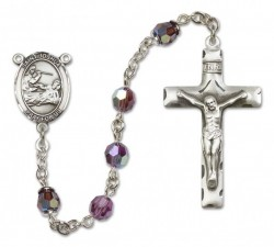 St. Joshua Sterling Silver Heirloom Rosary Squared Crucifix [RBEN0256]