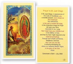 St. Juan Diego with Our Lady of Guadalupe Laminated Prayer Cards 25 Pack [HPR471]