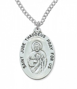 Men's Wide Oval St. Jude Medal Sterling Silver [MVM1034]