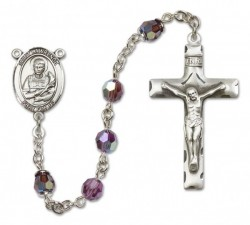 St. Lawrence Sterling Silver Heirloom Rosary Squared Crucifix [RBEN0270]