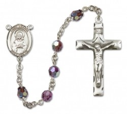 St. Lillian Sterling Silver Heirloom Rosary Squared Crucifix [RBEN0274]