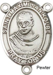 St. Maximilian Kolbe Rosary Centerpiece Sterling Silver or Pewter [BLCR0241]