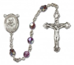 St. Maximilian Kolbe Sterling Silver Heirloom Rosary Fancy Crucifix [RBEN1300]