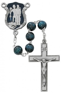 St. Michael Blue Enamel Police Rosary [MVRB640]