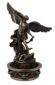 St. Michael Bronzed Resin Water Font - 8 inch [GSS055]