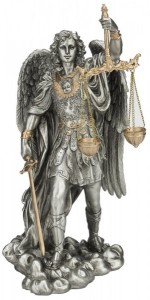St. Michael Justice Statue, Pewter Tone, 11 inches [GSS018]