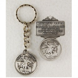 St. Michael Matching Key Ring and Visor Clip Set [AU0082]