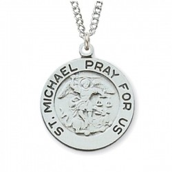 Women's Thick Border St. Michael Medal Sterling Silver [MVM1036]