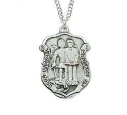 Unisex St. Michael Police Shield Medal Sterling Silver [MVM1040]
