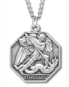 Men's Octagon Shape St. Michael Medal [RE0012]