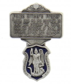 "St. Michael Police Officer Prayer Visor Clip, Blue Enamel, Pewter - 2 1/4""H [AU1035]"