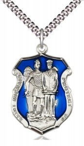 St. Michael and Police Shield Blue Epoxy Necklace [BM1019]