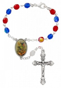 St. Michael Red & Blue Glass Auto Rosary [AU0061]