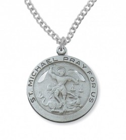 View all saint michael medal with necklace catholic faith store st michael round medal pewter mvm1134 aloadofball Choice Image