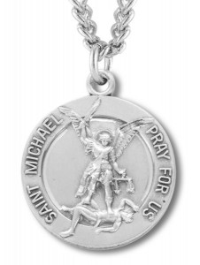 St. Michael Guardian Angel Round Medal Sterling Silver [REM2023]