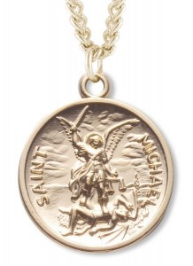 View all saint michael medal with necklace catholic faith store st michael round shaped medal 16kt gold plated rem2031 aloadofball Images