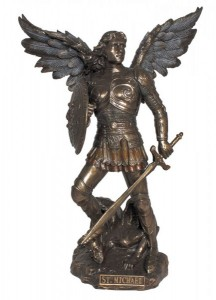 St. Michael Statue, Bronzed Resin Finish - 9 inches [GSS011]