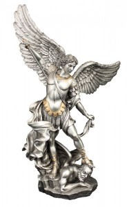 St. Michael Statue, Pewter Finish - 14 1/2 inch [GSS078]