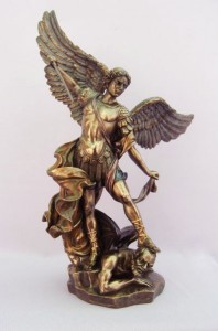 St. Michael Statue in Bronzed Resin - 14.5 inch [GSCH003]