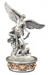 St. Michael Water Font, Silver Gold - 8 inch [GSS057]