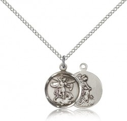 Women's Petite Round St. Michael & Guardian Angel Medal [CM2234]