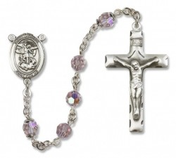 St. Michael the Archangel Sterling Silver Heirloom Rosary Squared Crucifix [RBEN0302]