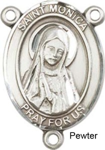 St. Monica Rosary Centerpiece Sterling Silver or Pewter [BLCR0246]