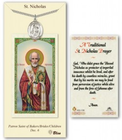 St. Nicholas Medal in Pewter with Prayer Card [BLPCP029]