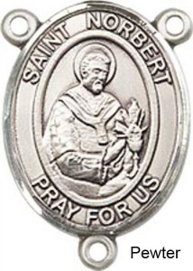 St. Norbert Rosary Centerpiece Sterling Silver or Pewter [BLCR0466]