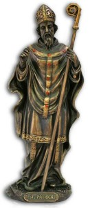 St. Patrick Statue, Bronzed Resin - 8 inch [GSS042]
