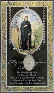 St. Peregrine Medal in Pewter with Bi-Fold Prayer Card [HPM042]