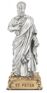 Saint Peter Pewter Statue 4 Inch [HRST518]