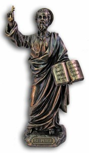 St. Peter Statue, Bronzed Resin - 8 inches [GSS035]