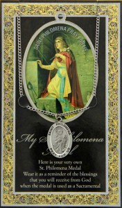 St. Philomena Medal in Pewter with Bi-Fold Prayer Card [HPM044]