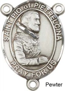 St. Pio of Pietrelcina Rosary Centerpiece Sterling Silver or Pewter [BLCR0290]