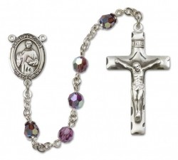 St. Placidus Sterling Silver Heirloom Rosary Squared Crucifix [RBEN0329]