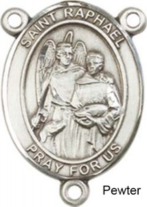 St. Raphael the Archangel Rosary Centerpiece Sterling Silver or Pewter [BLCR0259]