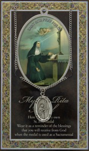 St. Rita Medal in Pewter with Bi-Fold Prayer Card [HPM047]