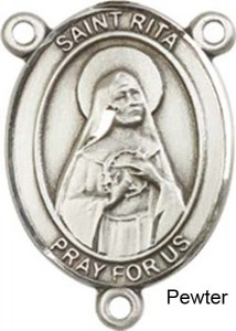 St. Rita of Cascia Rosary Centerpiece Sterling Silver or Pewter [BLCR0261]