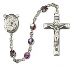 St. Robert Bellarmine Sterling Silver Heirloom Rosary Squared Crucifix [RBEN0343]